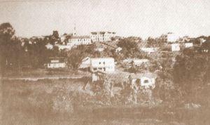 Uma vista da Matriz São João Batista no ano de 1946.