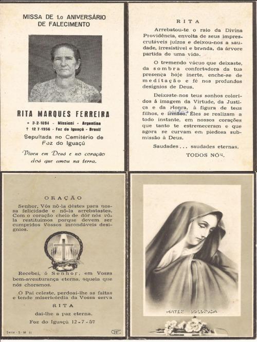Mais uma relíquia da história de vida dos pioneiros de Foz do Iguaçu, cedida pela iguaçuense Loty Ferreira. Minha avó materna,Rita Marques Ferreira, que infeliz mente não conheci.